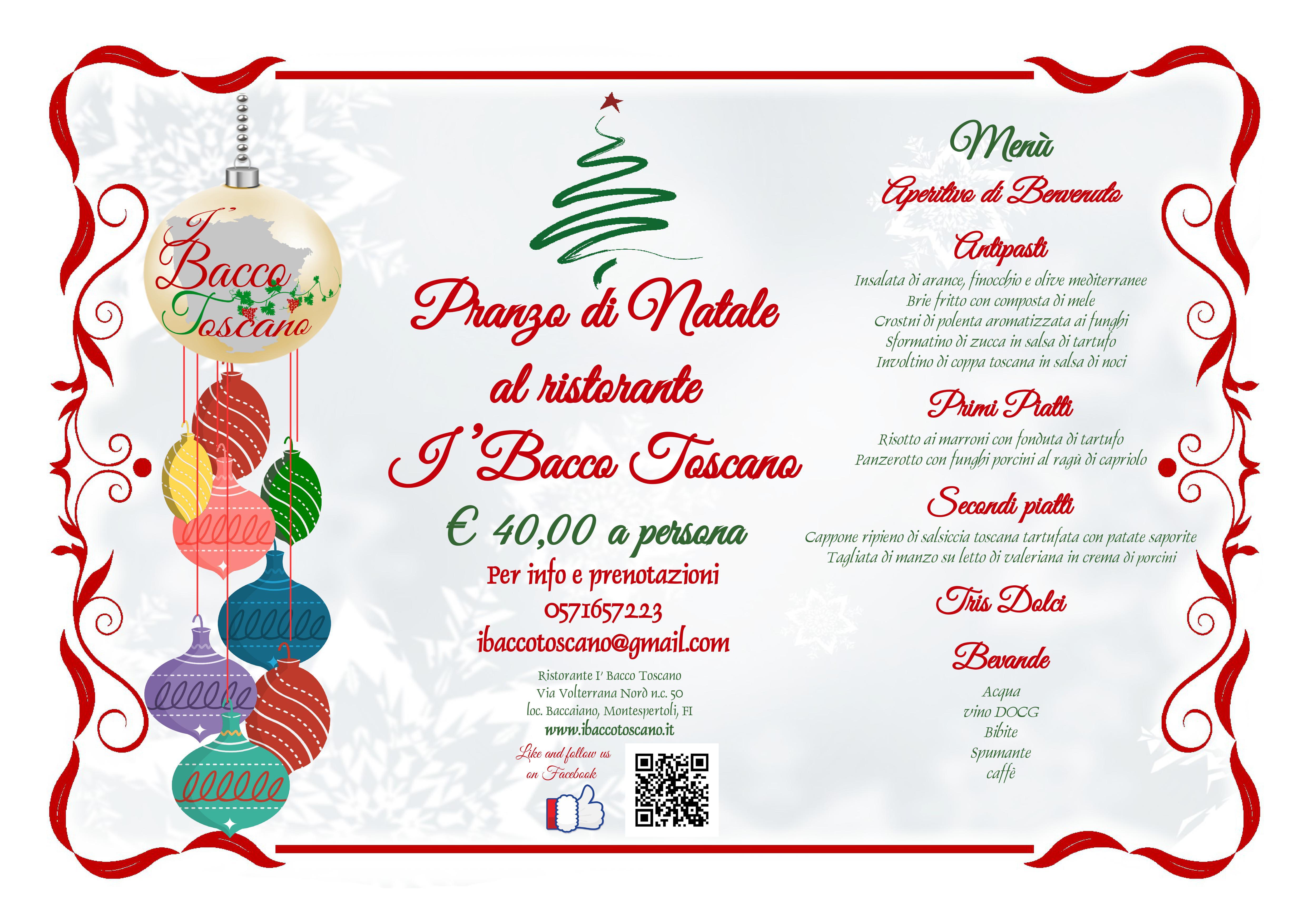 Un Menu Per Il Pranzo Di Natale.Menu Pranzo Di Natale 2018 I Bacco Toscano